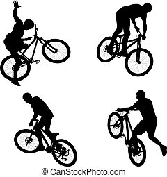 cyclist - silhouette of male doing bike trick