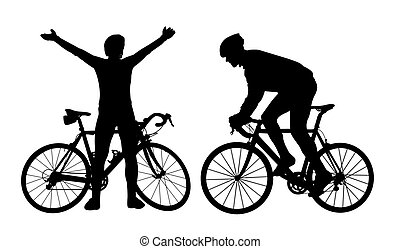 Cyclist silhouettes on white