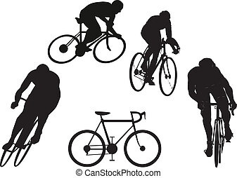 Cyclist silhouettes set