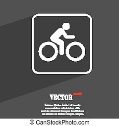 Cyclist symbol Flat modern web design with long shadow and space for your text. Vector