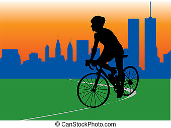 Cyclist. Vector illustration for you design