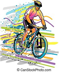 Vector illustration of a professional cyclist.