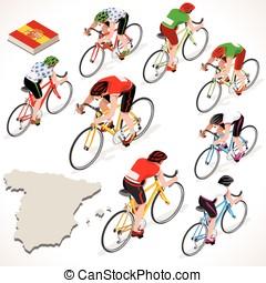 Cyclist Vuelta Espana Isometric People - Vuelta de Espana...