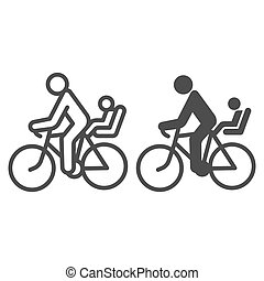 Cyclist with child line and solid icon, Summer sports concept, family on mountain bike sign on white background, Father with kid ride bicycle icon in outline style for mobile and web. Vector graphics.