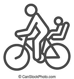 Cyclist with child line icon, Summer sports concept, family on mountain bike sign on white background, Father with kid ride bicycle icon in outline style for mobile and web. Vector graphics.