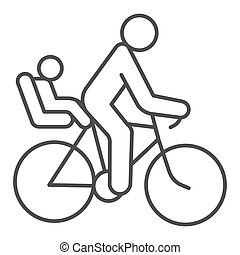 Cyclist with child thin line icon, Summer sports concept, family on mountain bike sign on white background, Father with kid ride bicycle icon in outline style for mobile and web. Vector graphics.