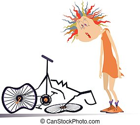Cyclist woman and a broken bike isolated illustration - Sad ...