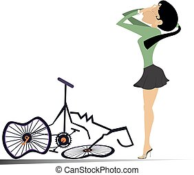Cyclist woman and a broken bike isolated illustration -...