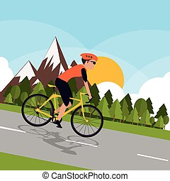 cycliste, à, montagne, fond, image