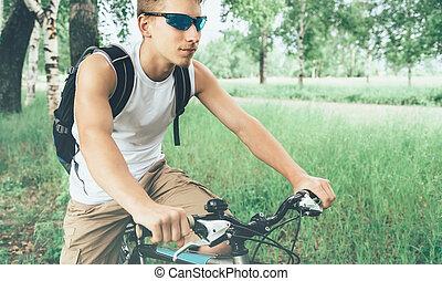 cycliste, été, parc bicyclette, jeune, équitation