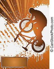 cycliste, affiche, bmx, vecteur, gabarit