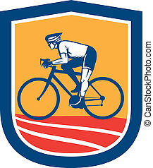 cycliste, bicyclette voyageant, cyclisme, vue côté, retro