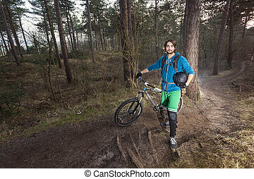 cycliste, bois, atb
