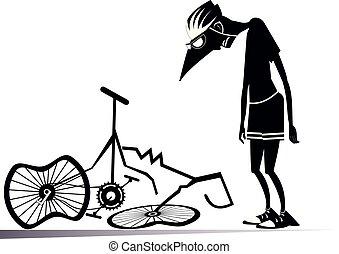 cycliste, cassé, vélo, isolé, illustration