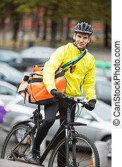 cycliste, courrier, livraison, sac, rue, mâle