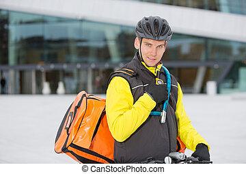 cycliste, courrier, livraison, sac, talkie, utilisation, walkie-