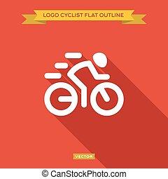 cycliste course, dinanima, logo, icône, contour, plat