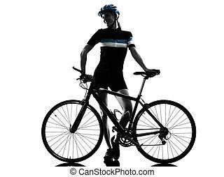 cycliste, cyclisme, bicyclette voyageant, femme, isolé, silhouette