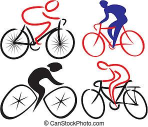 cycliste, cycliste, -, silhouettes