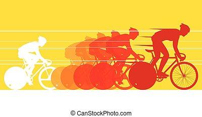 cycliste, dans, les, race bicyclette