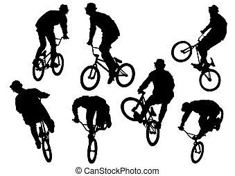 cycliste, deux, homme