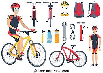 cycliste, ensemble, vélo, illustration, vecteur, outils