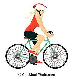 cycliste, femme professionnelle, jeune
