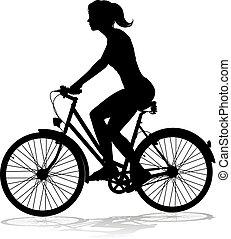 cycliste, femme, vélo, équitation vélo, silhouette