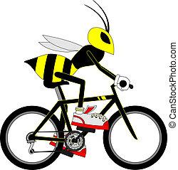cycliste, guêpe