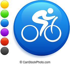 cycliste, icône, sur, rond, internet, bouton