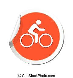 cycliste, icône, vecteur, illustration.