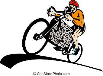 cycliste, moteur, vélo, voiture, v8, équitation, courses