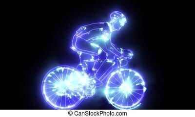 cycliste, numérique, silhouette, animation, mâle