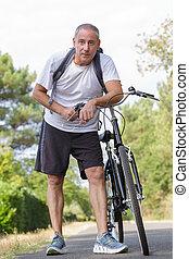 cycliste, personne agee, confection, nature, pause, apprécier