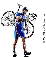 cycliste, porter, vélo, silhouette
