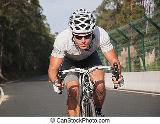 cycliste, portrait, dans action