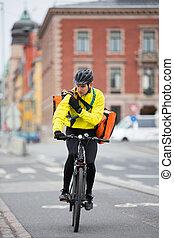 cycliste, sac, talkie-walkie, courrier, utilisation