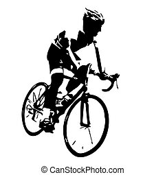 cycliste, silhouette., bicyclette courir