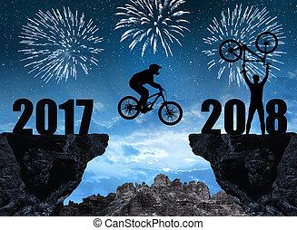 cycliste, silhouette, sauter, 2018, année, nouveau