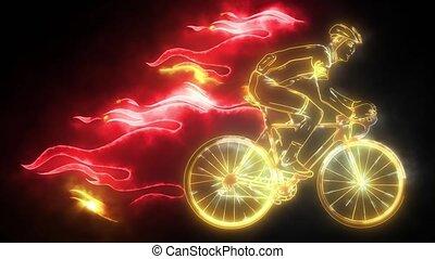 cycliste, silhouette, vidéo, animation, mâle