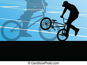 cycliste, silhouettes, vecteur, fond, actif, sport, extrême