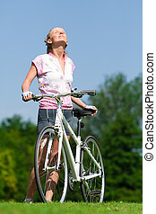 cycliste, soleil, girl, enjoing