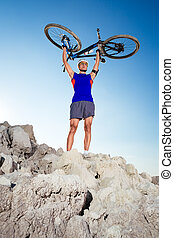 cycliste, sommet, colline