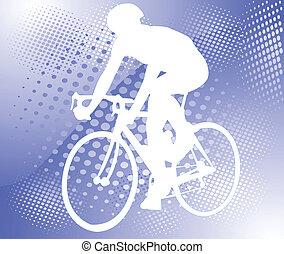 cycliste, sur, résumé, fond