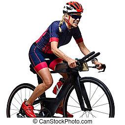 cycliste, triathlon, cyclisme femme, triathlete, athlète, isolé, fond, ironman, blanc