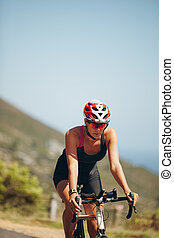 cycliste, triathlon, pratiquer, concurrence