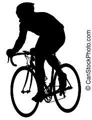 cycliste, trois, homme