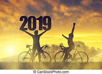 cycliste, vélo, deux, sunset.