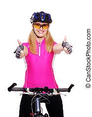 cycliste, vélo, projection, haut, closeup, pouces, tenue, girl