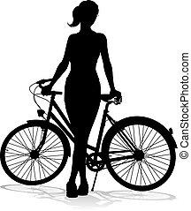 cycliste, vélo, silhouette, équitation bicyclette, femme